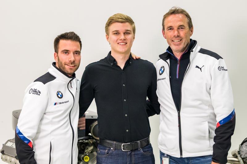 München, 04.-06.02.2019. BMW Motorsport Junior Programm, Auswahlprozess, Erik Johansson, Dirk Adorf (re.), Philipp Eng (li.).