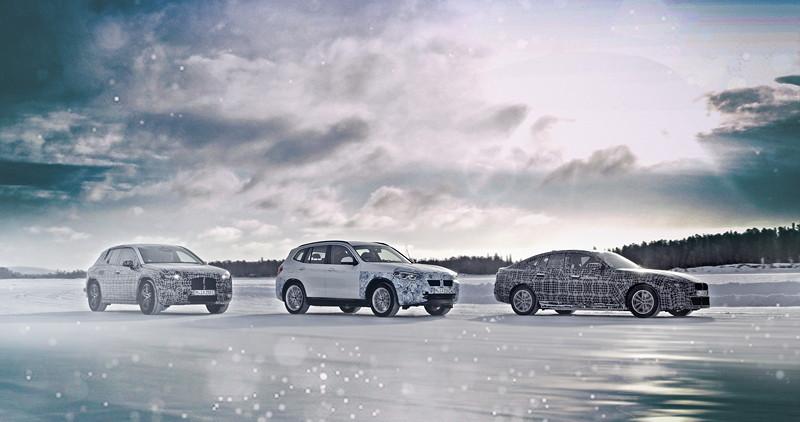 Der BMW iNEXT, der BMW i4 und der BMW iX3 im Winterfahrtest