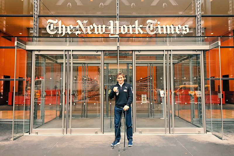 New York (USA), 8. Januar 2019. Alessandro Zanardi, Medien, Tour, New York Times.
