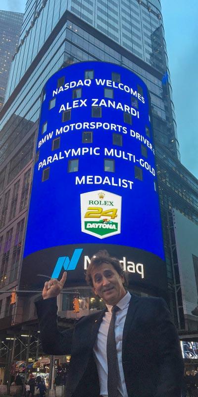 New York (USA), 8. Januar 2019. Alessandro Zanardi, Medien, Tour, Times Square.