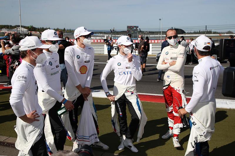 Nürburgring, 20.092020. DTM Rennen 12, Lucas Auer (AUT), Marco Wittmann (GER), Sheldon van der Linde (RSA), Jonathan Aberdein (RSA), Robert Kubica (POL), und Timo Glock.