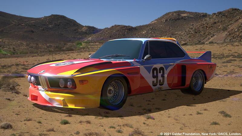 BMW Art Car von Alexander Calder, BMW 3.0 CSL, 1975, Augmented Reality. Bildrechte mit freundlicher Genehmigung des Kuenstlers und Acute Art in Zusammenarbeit mit BMW Group Culture.