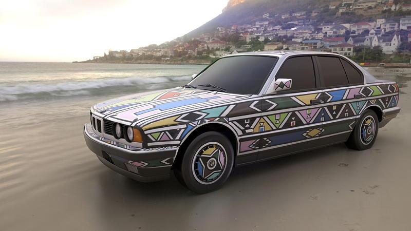 BMW Art Car von Esther Mahlangu, BMW 525i, 1991, Augmented Reality. Bildrechte mit freundlicher Genehmigung des Kuenstlers und Acute Art in Zusammenarbeit mit BMW Group Culture.