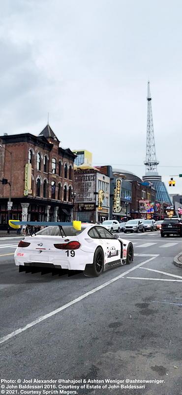 BMW Art Car von John Baldessari, BMW M6 GTLM, 2016, Augmented Reality. Bildrechte mit freundlicher Genehmigung des Kuenstlers und Acute Art in Zusammenarbeit mit BMW Group Culture.