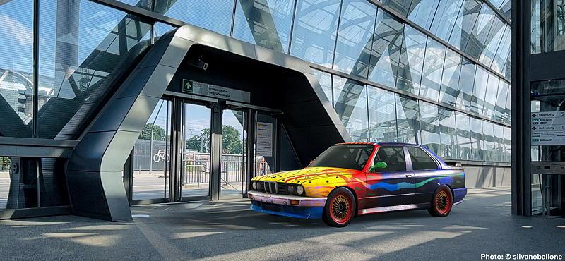 BMW Art Car von Ken Done, BMW M3, 1989, Augmented Reality. Bildrechte mit freundlicher Genehmigung des Kuenstlers und Acute Art in Zusammenarbeit mit BMW Group Culture.