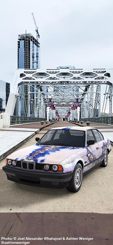 BMW Art Car von Matazo Kayama, BMW 535i, 1990, Augmented Reality. Bildrechte mit freundlicher Genehmigung des Kuenstlers und Acute Art in Zusammenarbeit mit BMW Group Culture.