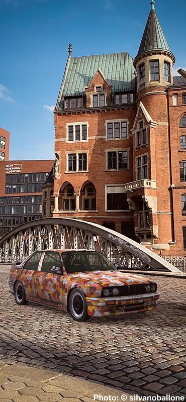 BMW Art Car von Michael Jagamara Nelson, BMW M3, 1989, Augmented Reality. Bildrechte mit freundlicher Genehmigung des Kuenstlers und Acute Art in Zusammenarbeit mit BMW Group Culture.