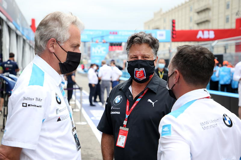 New York (USA), 08.-11.07.2021. ABB FIA Formula E World Championship, New York E-Prix, J.F. Thormann (USA), Michael Andretti (USA), CEO BMW i Andretti Motorsport.