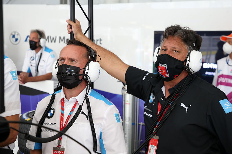 New York (USA), 08.-11.07.2021. ABB FIA Formula E World Championship, New York E-Prix, Roger Griffiths (GBR) Teamchef BMW i Andretti Motorsport und Michael Andretti (USA), CEO Andretti Autosport, BMW i Andretti Motorsport.