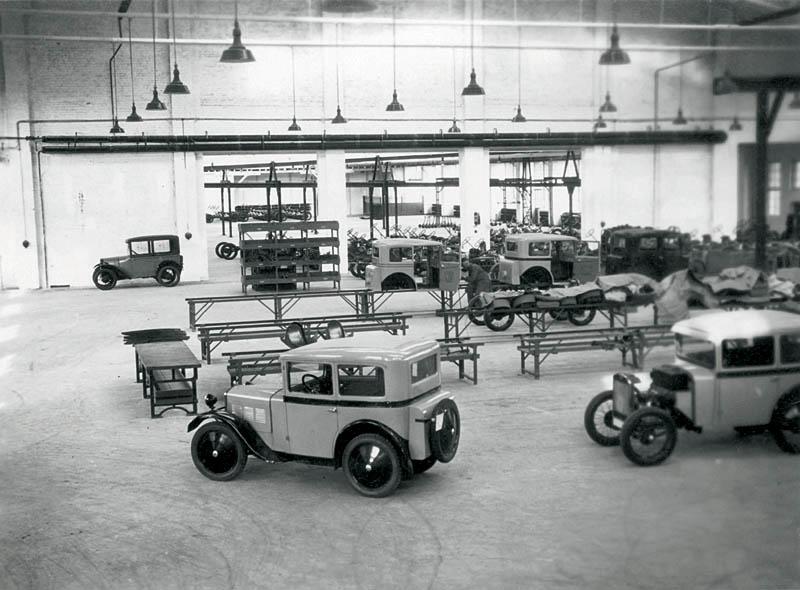 Blick in die Fertigungshalle des BMW 3/15 PS, Berlin Johannisthal, 1929