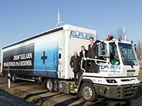 Emissionsfreier Lieferverkehr in Leipzig: BMW und Elflein Transport nehmen Elektro-LKW in Betrieb.