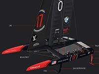 """Mit BMW Expertise auf Titelverteidigungskurs: ORACLE TEAM USA präsentiert America's-Cup-Rennyacht """"17""""."""