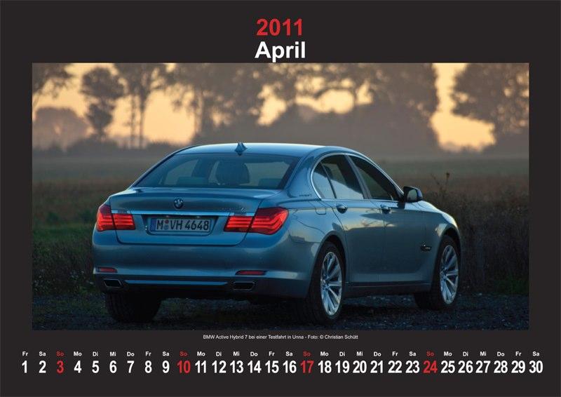 April 2011: BMW ActiveHybrid 7 bei einer Testfahrt in Unna
