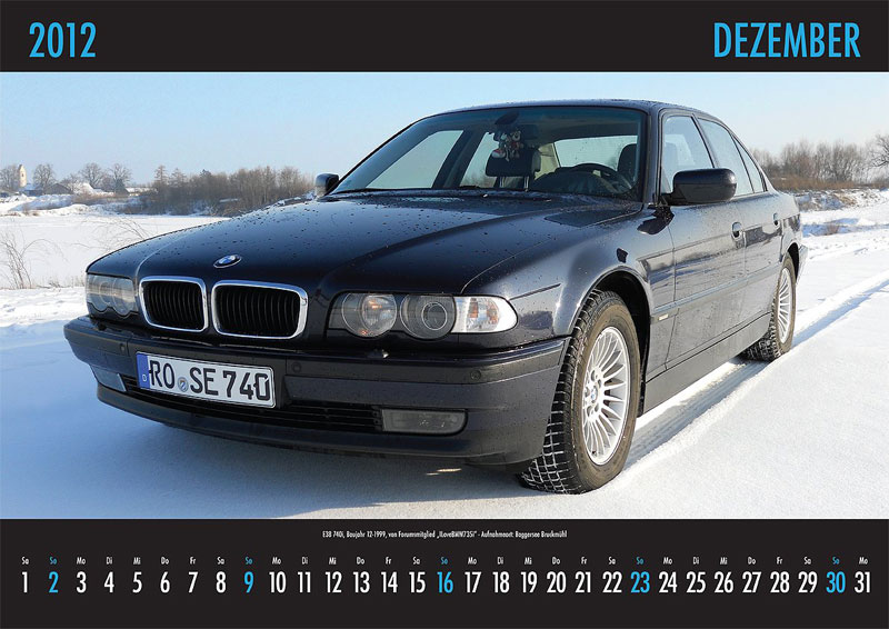 Dezember-Motiv: E38-740i, von Forumsmitglied 'ILoveBMW735i' - Aufnahmeort: Baggersee Braukmühl