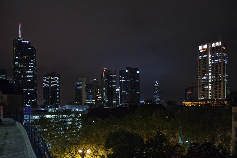 Skyline von Frankfurt, gesehen vom Parkhaus in der Schillerpassage