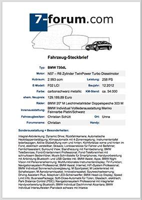Fahrzeug Steckbrief Beispiel
