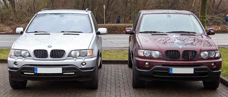 Rhein-Ruhr-Stammtisch im Januar 2017, die BMW X5 (E53) Winterautos von Peter ('TurboPeter', links) und Michal ('bmwe23')