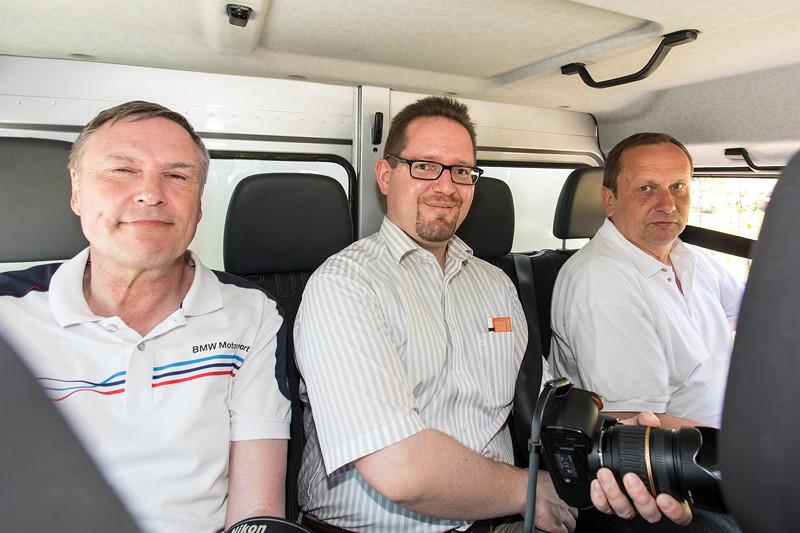 Mitfahrt im Unimog U4023: Uli ('Ulrich51'), Roland ('RM60') und Stammtisch-Organisator Matthias ('Telekom-iker')