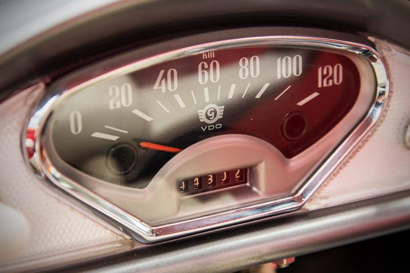 Goggomobil TS 250 Coupé von Ralf ('asc-730i'). Tacho-Instrument. Die Höchstgeschwindigkeit beträgt 85 km/h.
