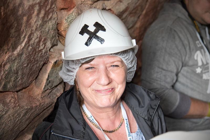 77. Südhessen-Stammtisch, Teilnehmerin Brigitte aus Lüdenscheid im Kupferbergwerk Grube Wilhelmine