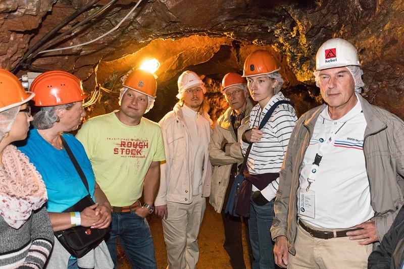 77. Südhessen-Stammtisch, Teilnehmer im Kupferbergwerk Grube Wilhelmine