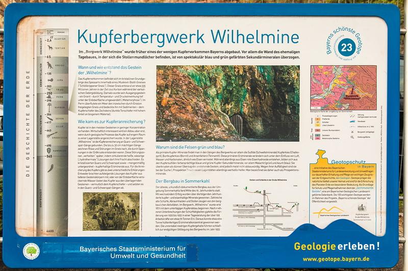 77. Südhessen-Stammtisch: Kupferbergwerk Grube Wilhelmine, Schild am Eingang