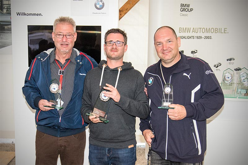Slalom Cup Finale, Ehrung in der MINI-Klasse 3: 1. Andreas Pfannschmidt (ohne Club), 2. Moritz Uwe Spathalf (ohne Club) und 3. Matthias Zobel (BMW Friendship).