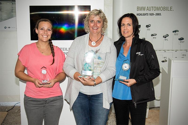 Slalom Cup Finale, Ehrung Damen Automobile: 1. Heike Eymann (BC Bad Windsheim), 2. Anja Bernardy-Raab (BC Rothenburg) und 3. Lisa Heldt (BC Rothenburg).
