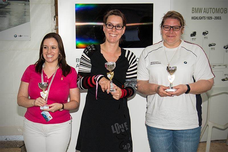 Slalom Cup Finale, Ehrung Automobile Rookie Damen: 1. Janett Herklotz (BC Rothenburg), 2. Simone Schulz (BC Rothenburg) und 3. Melanie Schuster (BC Fürstenfeldbruck).