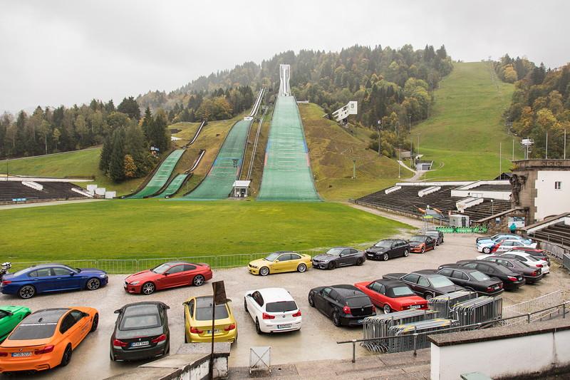 20 Jahre BCD-Treffen: Gruppenfoto an der Olympiaschanze in Garmisch Partenkirchen.