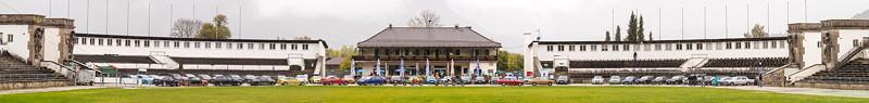 20 Jahre BCD Treffen: Gruppenfoto an der Olympia Schanze, Panorama