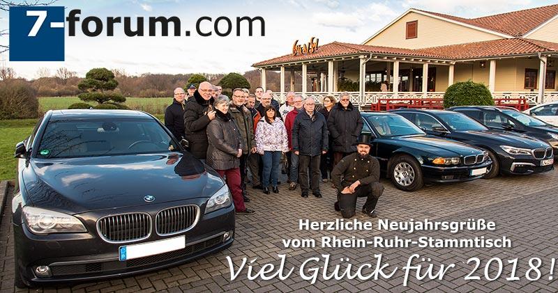7er-Neujahrs-Stammtisch 'Rhein-Ruhr'. Viel Glück für 2018 wünschte Forums-Schornsteinfeger Alain.