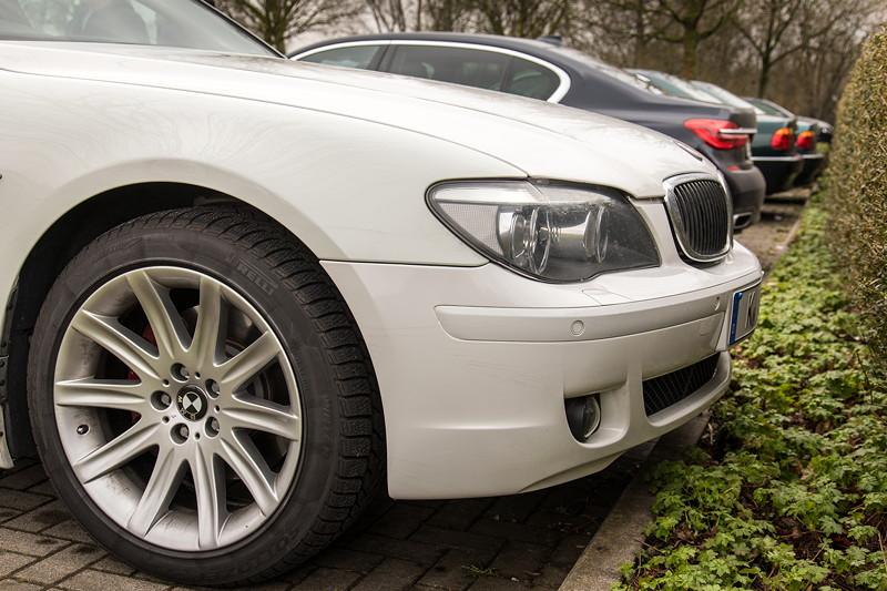 BMW 750i (E65 LCI), Japan-Import, Rechtslenker, von Olaf ('loewe40') beim Rhein-Ruhr-Stammtisch im April 2018