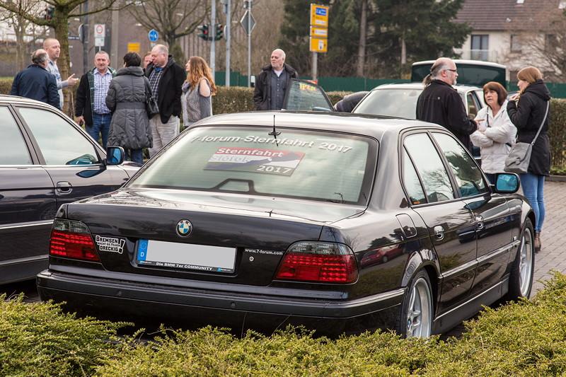 BMW 740i (E38) von Jens ('sandmaennchen1') beim Rhein-Ruhr-Stammtisch im April 2018.