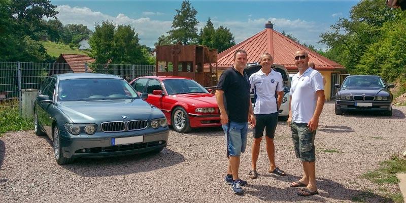 Grill-Stammtisch im Juli 2018: Jürgen ('Yachtliner'), Jörg ('Imola2') und Ralf ('Ralf735iV8')