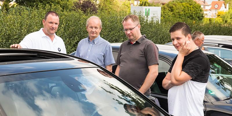 Jürgen ('Yachtliner'), Dirk ('Dixe'), Marc ('b7_do') und Michael ('Maschkow') in Castrop-Rauxel.