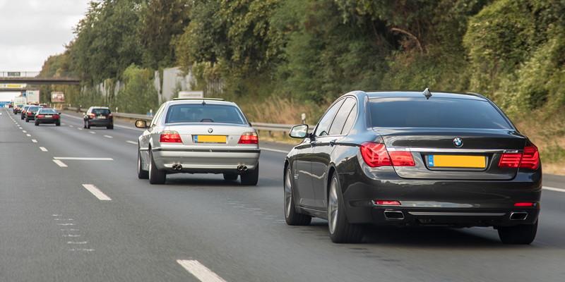 7er-Konvoi ab Castrop-Rauxel zur BMW Scene Show 2018 in Recklinghausen. Hinten der BMW 740i (F01) von Edwin ('Homerraas').