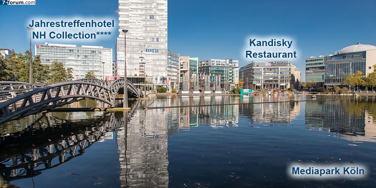 MediaPark Köln mit dem Jahrestreffenhotel NH Collection und dem Kandinsky Restaurant