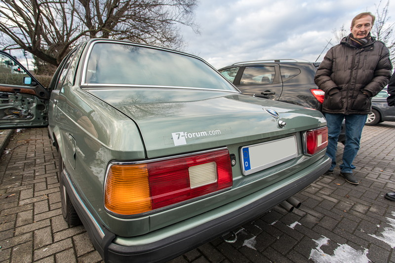Rhein-Ruhr-Stammtisch im Februar 2019, BMW 732iA (E23) von Viktor ('Zuwack'), mit Lothar ('ShadowLothar')
