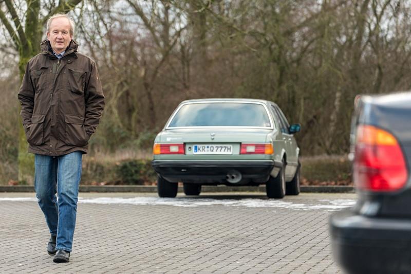 Rhein-Ruhr-Stammtisch im Februar 2019, Dirk ('Dixe') auf dem diesmal eher leerem Stammtisch-Parkplatz