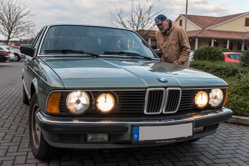 Rhein-Ruhr-Stammtisch im Februar 2019, BMW 732iA (E23) von Viktor ('Zuwack'), mit Peter ('TurboPeter')