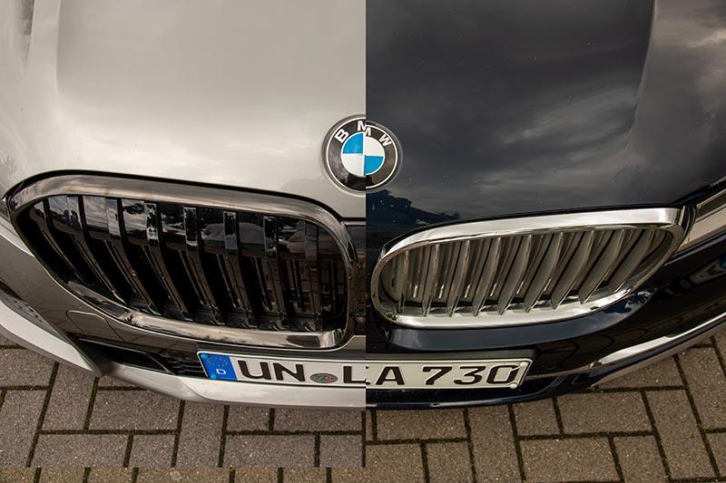 BMW 7er (G11/G12), links das Faceliftmodell mit der deutlich vergrößerten Niere und größerem BMW Logo auf der Haube
