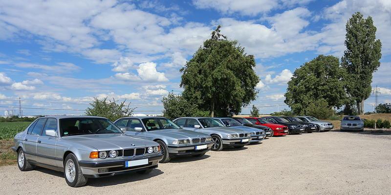 BMW 7er Stammtisch Halle-Leipzig im Juli 2020: teilnehmende 7er-BMWs