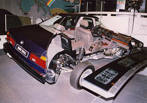 BMW 7er, Modell E32, sliced model in the BMW-Museum Munich ...