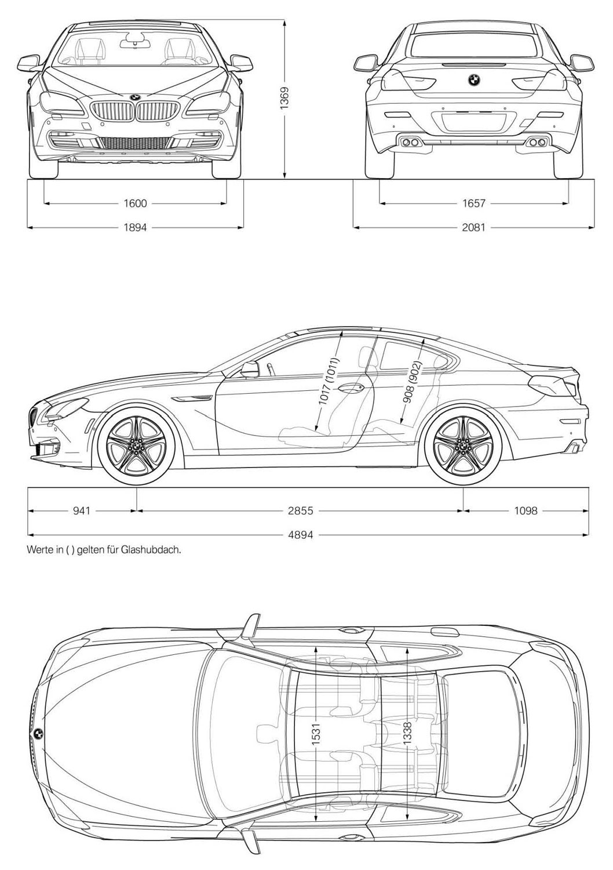 Foto: Abmessungen BMW 6er Coupe (vergrößert)